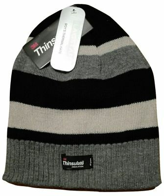 Boys Striped Beanie Hat 3M Thermal Thinsulate Lined Winter Warm One Size   NEW  04de80b76516