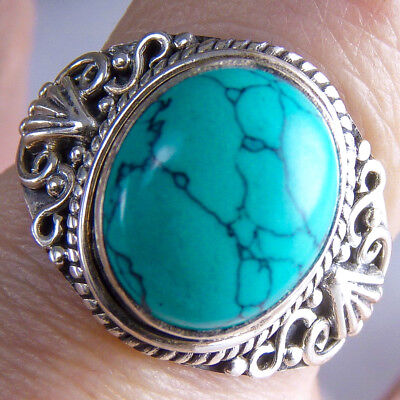 FILIGREE LACE Size US 7 .5 SILVERSARI Ring Solid 925 Sterling Silver & TURQUOISE