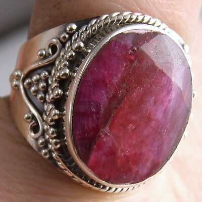 Gem Granulated Frame Ring US 5.5 SILVERSARI Solid 925 Stg Silver INDIAN RUBY