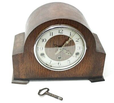 Art Deco Smiths Enfield Oak Cased Chiming Mantel Clock - FREE Shipping [PL4696]