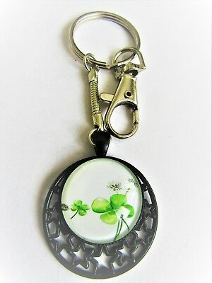0786 - Key Ring - Four Leaf Clover - Good Luck, Wealth. Hand Made