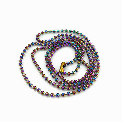 1 x Stainless Steel 75cm Ball Chain Necklace 2.4mm Colourful Rainbow
