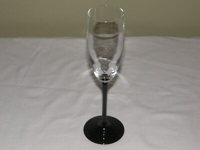 Cristal d'Arques Crystal Domino Pattern Black Stem Fluted Champagne Glass