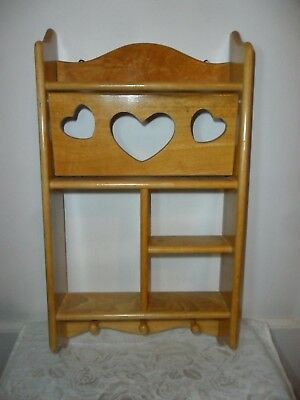 """Vintage Solid Wood Hanging Display Shelf - 17.5"""" Tall - Cut Out Hearts"""