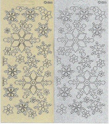 Snowflake Stickers - Peel Off Gold Silver Pearl Glitter Christmas Embellishment