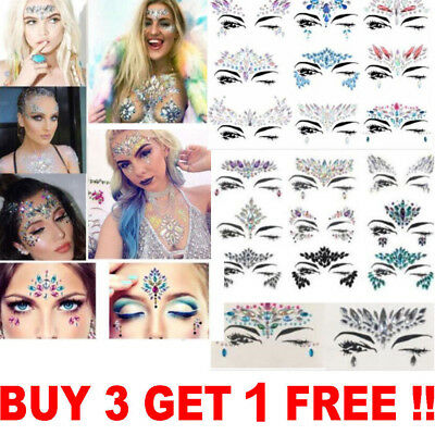 Festival Face Gems Adhesive Glitter Jewel Tattoo Sticker Rave Party Body Make Up
