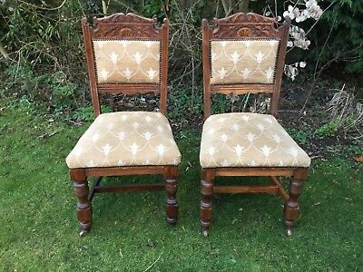 PAIR Antique Vintage Edwardian High Back Shabby Chic Carved Dining Chairs