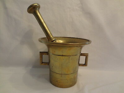Antique Solid Brass Mortar and Pestle-Handles-Apothecary-Medical- Very Large!
