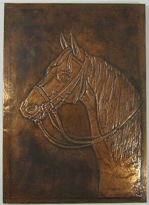 Vintage Embossed Copper Horse Picture Hand Tooled Sculpted Western Art