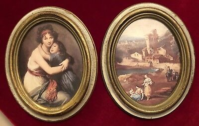 "Set Of Two(2) Vintage Oval Plastic Frame Wall Portraits Italy 8.25"" H"