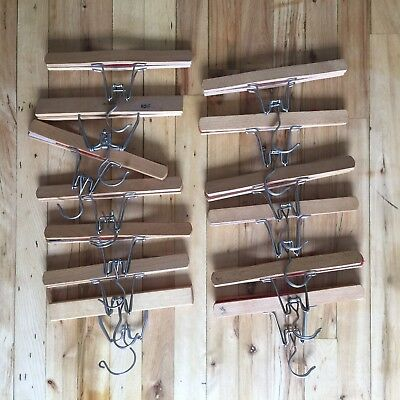 Lot of  13   Wooden Pant Trouser Skirt Clamp  Hangers