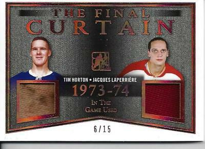 2017-18 ITG Game Used, Tim Horton & Jacques Laperriere Dual GJ 6/15