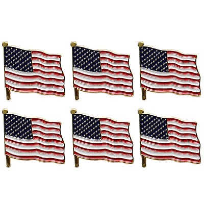 High Quality 6 Pcs American Flag Lapel Pin 2 Inch Patriotic Hat Tie Tack Badge Gold  Outline