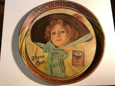 """Satin Turkish Blend Cigarettes Tin Serving 14"""" Tray Haskell Coffin Style Lady"""