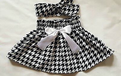 Beautiful Summer  Houndstooth Print  Baby's Skirt and Headwrap New