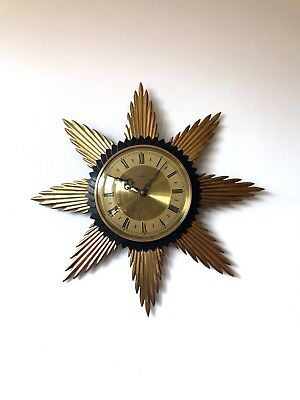 1950s Charming original Metamec brass sunburst starburst wall clock