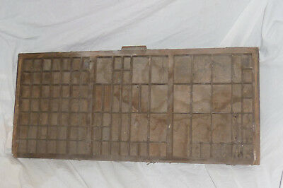 ANTIQUE WOODEN PRINTERS TRAY FOR COLLECTORS DISPLAY Many Compartments 36 x 83cm