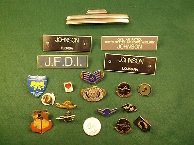 "#8, Lot Of Usa Military Pins - ""johnson"" Civil Air Patrol, Florida"" Desert Storm"