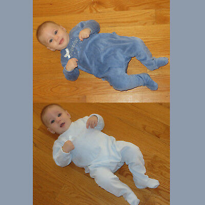 Cotton Velour Baby Romper Infant One Piece Snaps in Back  Easy Diaper Change