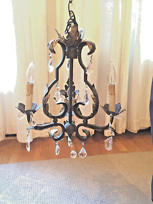 Gilded Vintage Three-Arm Brass Tole Chandelier with Sparkling Crystals