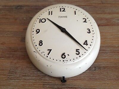 *rare* Fully Working Ferranti Small Industrial Electric Wall Clock Pro-Refurbed