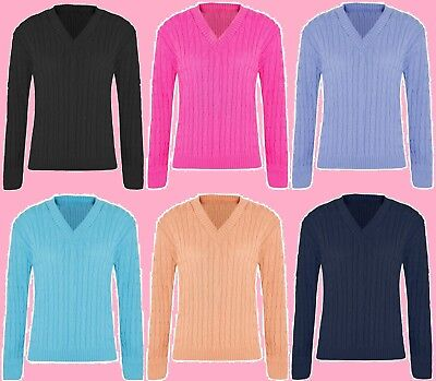 Ladies Long Sleeve Knitted V Neck Jumper Women's Plain Chunky Cable Knit Sweater