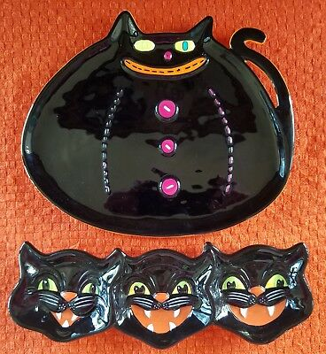 Halloween Black Cat Serving Dishes/Plates, Department 56 & One Hundred 80, Nice!