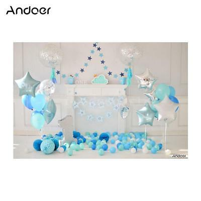 Andoer 2.1 * 1.5m/7 * 5ft First Birthday Backdrop Balloon Photography G7I3