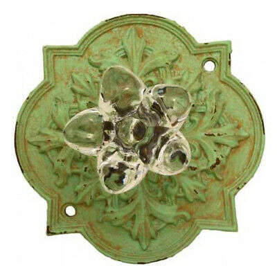 French Country Vintage Inspired Green Ornate Back with Crystal Knob x 2 New