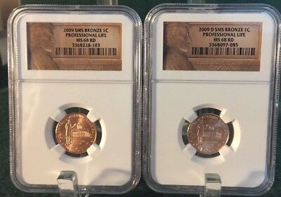 2009-P & D LINCOLN CENT Professional Life NGC MAC MS68 RD SMS 2 Coins