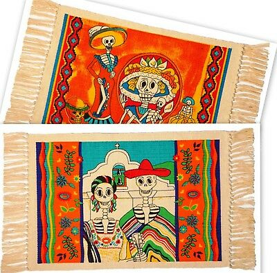 "PLACEMATS (Set of 2) Day of the Dead SKELETONS & CATRINA 13""x19"""