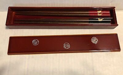 Vintage Chopsticks 2 Pairs in Burgundy Red Lacquer Box