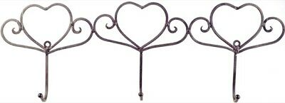 French Country Vintage Inspired Wall Art 3 HEART HOOKS Wrought Iron Keys Hats...