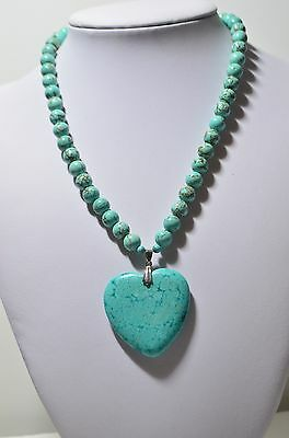 Vintage 18K White Gold Over Sterling Silver Turquoise Heart Pendant Necklace