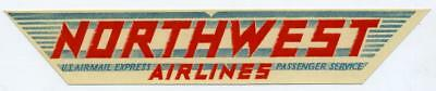 U.S. Airmail Express - Passenger Service ~NORTHWEST AIRLINES~ Ettiquette / Label