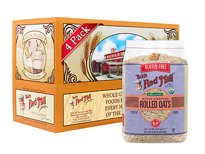 Bob's Red Mill Gluten Free Organic Quick Cooking Rolled Oats, 32oz (Pack of 4)
