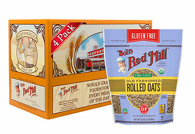 Bob's Red Mill Gluten Free Organic Old Fashioned Rolled Oats, 32oz (Pack of 4)