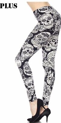 NEW Halloween Day of the Dead blk and white Sugar Skull Leggings TC PLUS 12-22