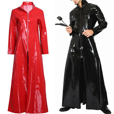 Men Women PVC Leather Wet Look Long Coat Cloak Dress Unisex Clubwear Costume