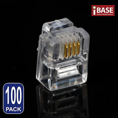 100x RJ11 Connector Modular Plug Gold-Plated Crimp 6P4C Telephone ADSL Network
