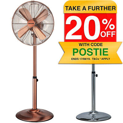 Heller 45cm Pedestal Oscillating Floor Fan/Air Cooling Circulator/Cooler/Metal
