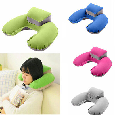 Portable Travel Inflatable Neck Pillow U Shape Blow Up Neck Cushion PVC Flocking
