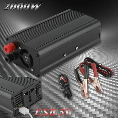 US Portable Car Power Inverter WATT DC 12V to AC 110V Charger Converter 2000W