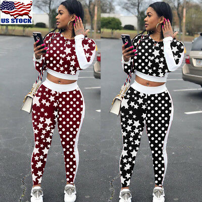 Fashion Women Long Sleeve Star and Polka Dot Print Bodycon Jumpsuit Casual US