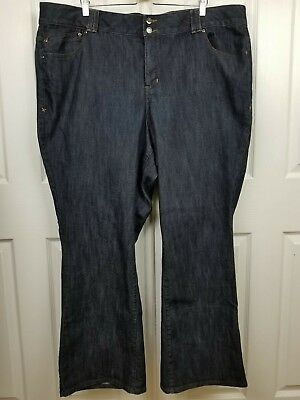 Lane Bryant Womens SZ 27x31.5 Dark Wash Boot Cut Tighter Tummy Technology Jeans