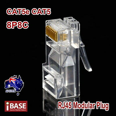 RJ45 Connector Modular Plug Crimp 8P8C CAT5e CAT5 CAT6 LAN Network Ethernet