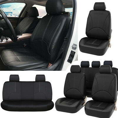 9PC wearproof PU Leather Car Seat Covers Front+Rear Seat Cushion Mat Protector