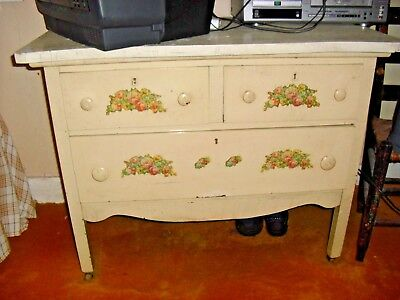 Antique Shabby Chic White Dresser/Floral Decal