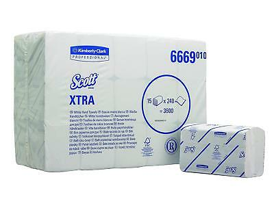 SCOTT* XTRA Interfolded Hand Towels 6669-15 Packs X 240 White, 1 Ply Sheets