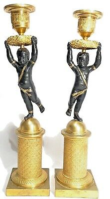 19th CENTURY ANTIQUE FRENCH ORMOLU GOLD GILT FIGURE CANDLESTICKS CANDLE HOLDER